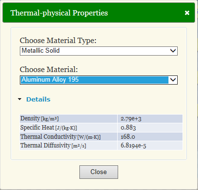 Thermal-physical database for solid material