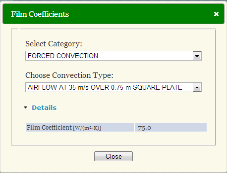 Database for sample film coefficients