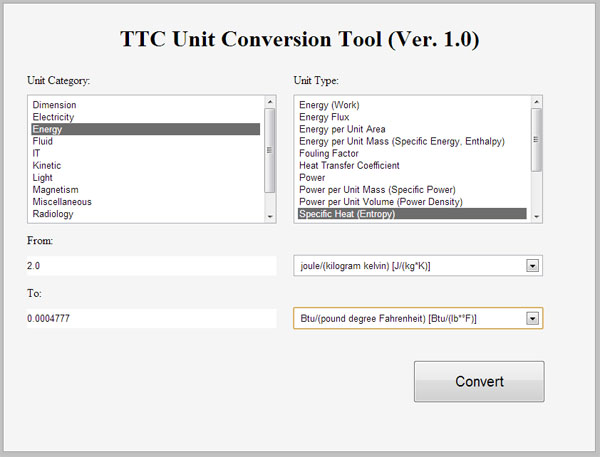TTC Unit Conversion Tool